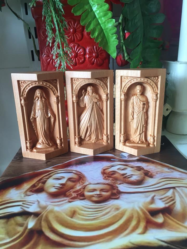 Bộ 3 tượng gỗ công giáo : Chúa, Đức Mẹ, Thánh Giuse